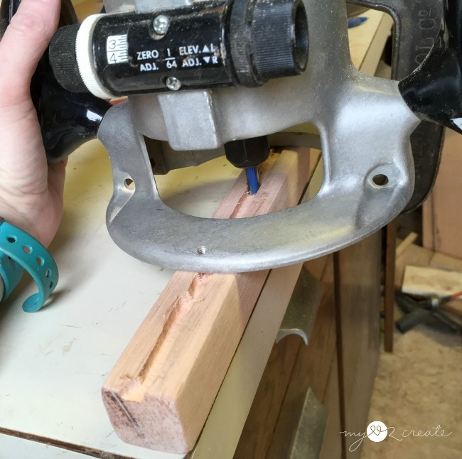routing out a channel in wood for cord on diy sconce