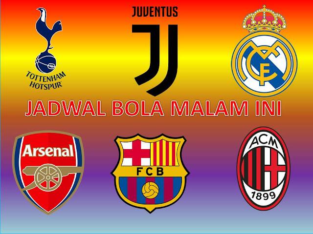 Jadwal Bola Malam ini, Totteham Hotspur Vs Arsenal, Real Madrid Vs AC Milan dan Barcelona Vs Juventus