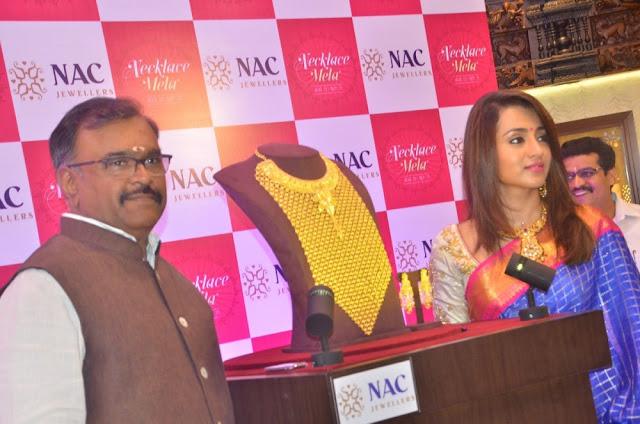 Trisha Krishnan Latest Hot Glamourous Spicy Blue Traditional Saree PhotoShoot Images At  NAC Jewellers Necklace Mela Inaugurates At Chennai