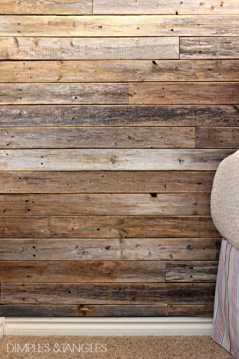 Diy wood fence plank wall tutorial dimples and tangles for Cedar planks for interior walls