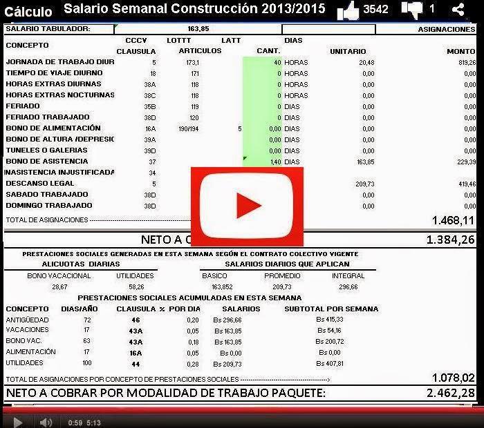 Calculo Pago Semanal CCV 2013 2015  en la Construccion