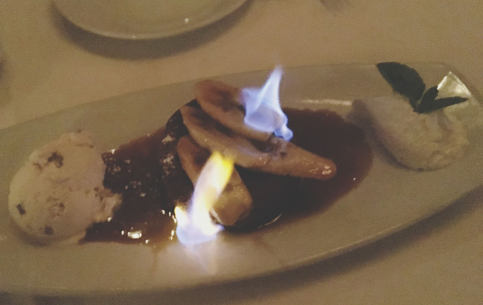 bananas foster cake at Eddie V's - A restaurant in Houston, Texas