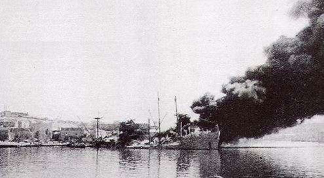 British freighter Pampas burning at Malta, 26 March 1942 worldwartwo.filminspector.com