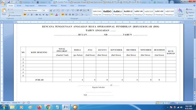 Contoh Rencana Penggunaan Anggaran Biaya Operasional Pendidikan (BOP)/Sekolah (BOS)