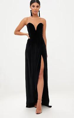 Black Velvet Drapped Wrap bandeau maxi dress