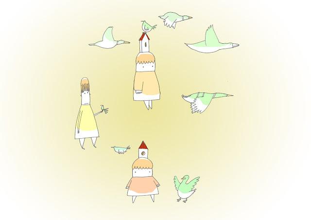 disegno di bambine e papere in girotodo con sfondo giallo