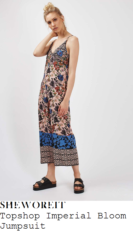 caroline-flack-topshop-nude-shell-pink-black-blue-and-multicoloured-imperial-floral-scarf-print-sleeveless-cami-strap-plunge-front-lattice-back-detail-relaxed-fit-wide-leg-culotte-jumpsuit