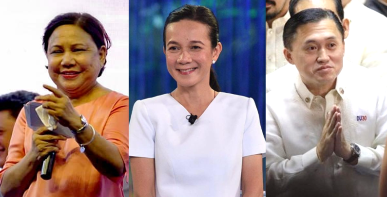 Re-electionist senators Cynthia Villar and Grace Poe and former presidential assistant Bong Go top the race in the 2019 senatorial election.