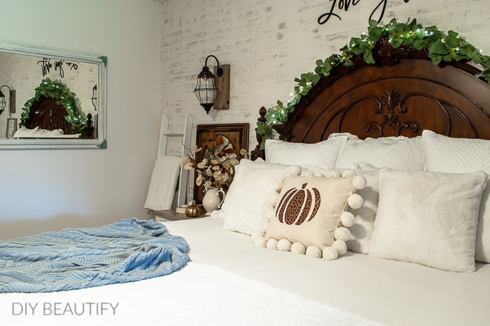 cozy Master bedroom with fall decor