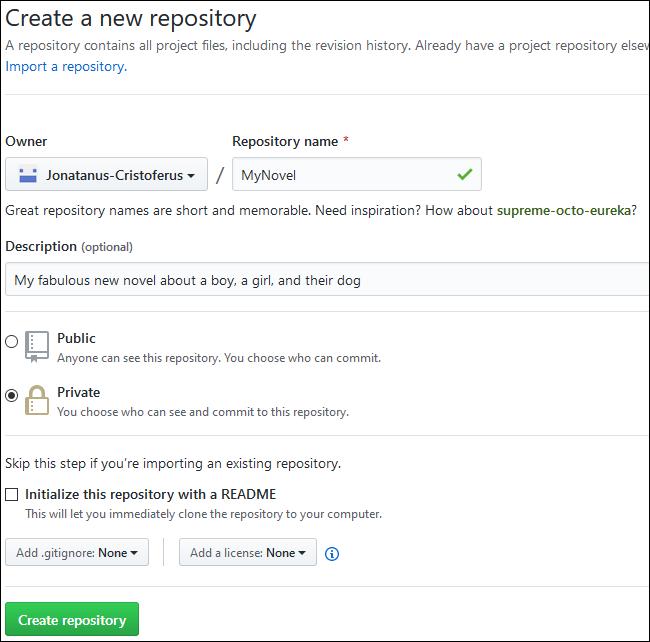 نموذج النص لإنشاء مستودع GitHub جديد.