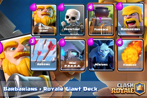 Royal Giant+Barbarians Deck