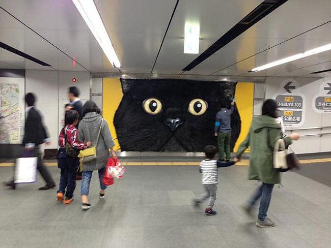 Cartelera de un gato enorme en Tokio es demasiado enorme como para ser una mascota