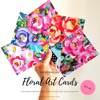 A set of five joy-filled floral art cards, featuring your favorite floral minis by artist, Merrill Weber