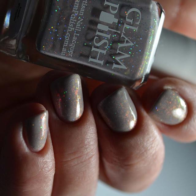 grey shimmer nail polish swatch low light
