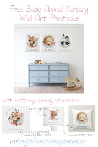 Free baby animal nursery printables