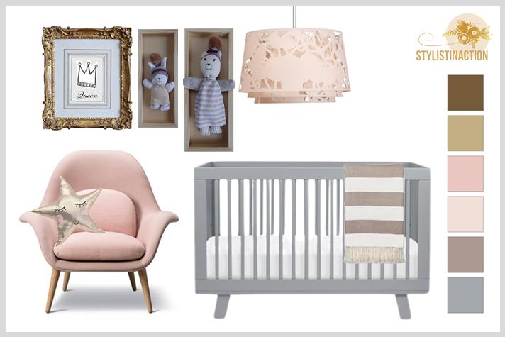 Deco Styling para bebes - dupla rosa + gris. Gallery wall con objetos enmarcados para darle personalidad