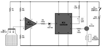 Miniatur Alarm Generator Circuit for Laptop Protector