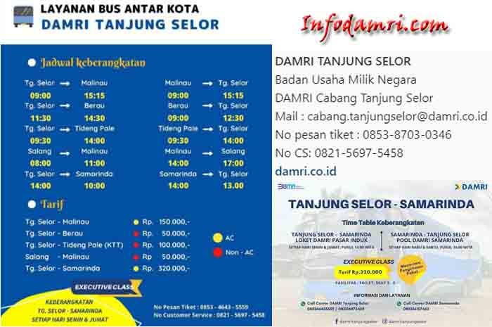 Harga Tiket & Jadwal Bus Damri Tanjung Selor