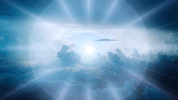 Luces enfocando un astro. Luces que podrían representar las dimensiones del universo.