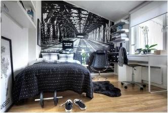 Kreative Jugendlich Junge Schlafzimmer Ideen Schwarz Weiß Interieur