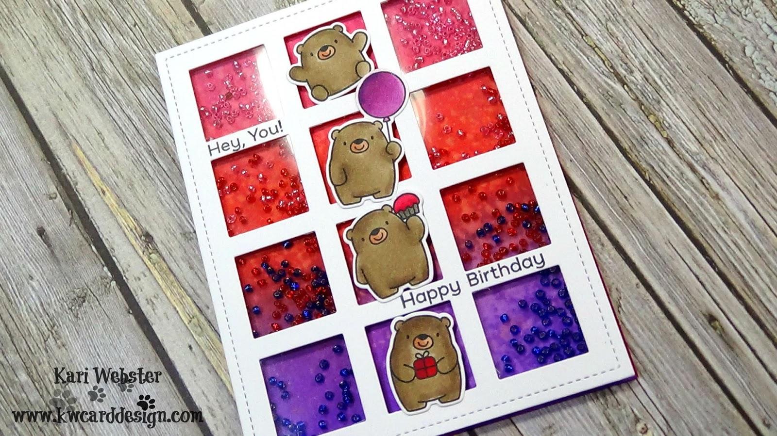 KWCardDesign : Bitty Bears Birthday Shaker | MFT | Copic Coloring