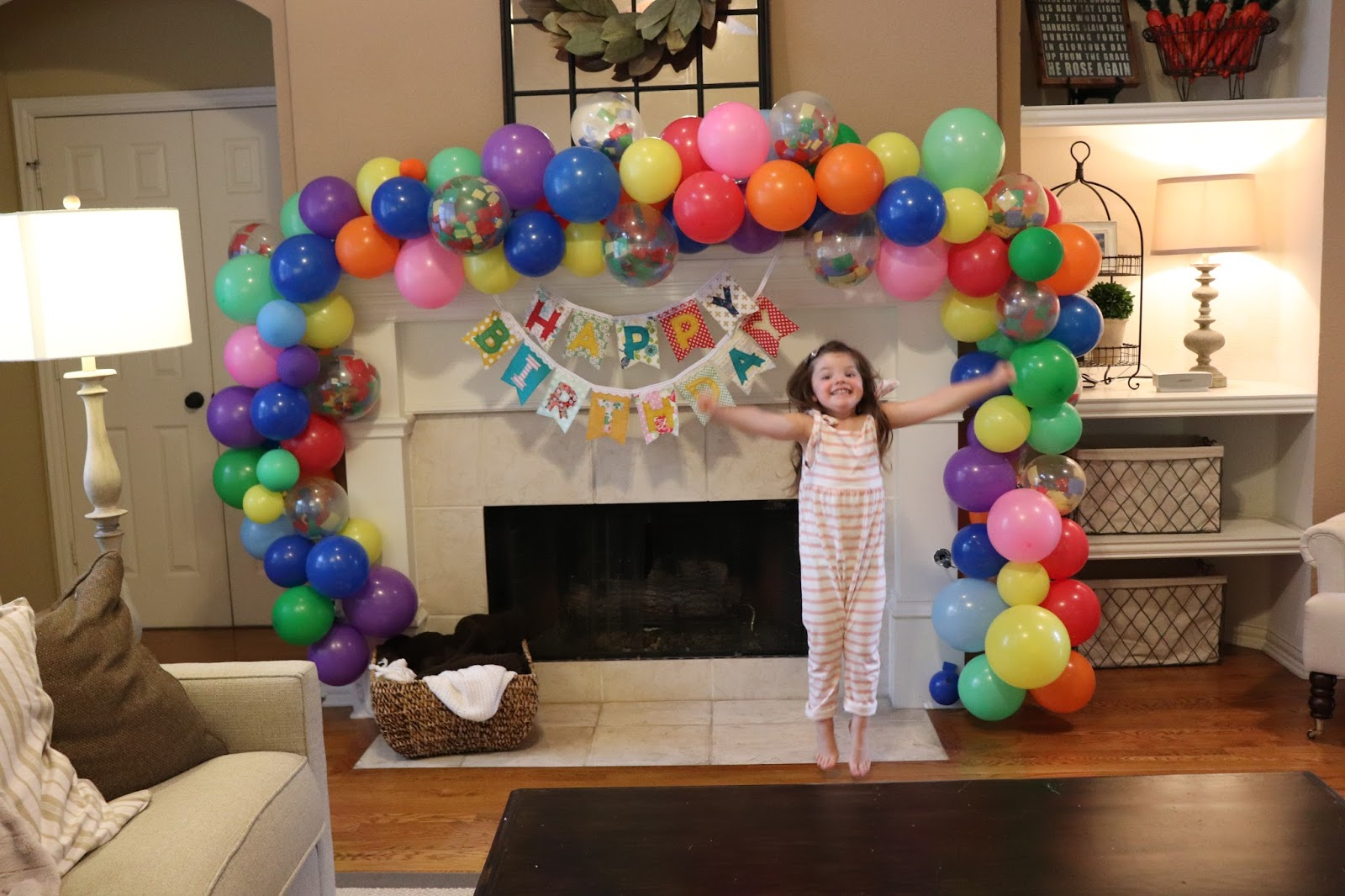Birthday Mantle Balloon Arch Momfessionals Bloglovin Snap Circuits Sound Light Combo By Elenco On Barstons Childs Play Believe It Or Not Was Actually Super Simple I Purchased This Decorating Strip Bought The 25 Roll At Party City For 5