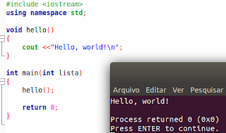 Função Olá, mundo em C++