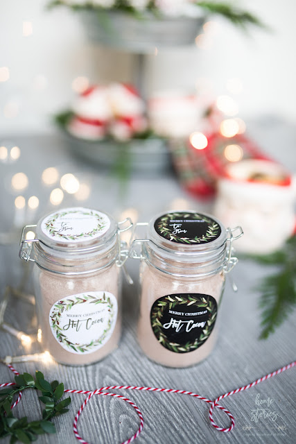 Hot cocoa gift jars with printable labels