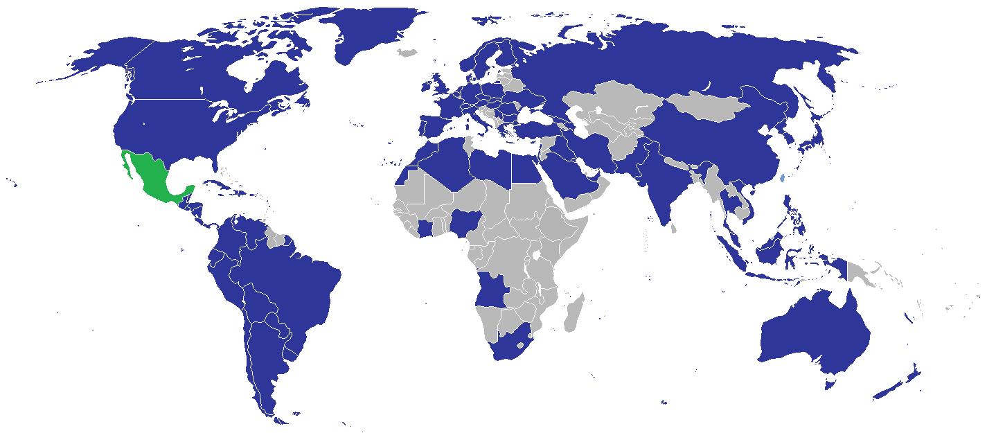 mexiko weltkarte Weltkarte – Diplomatische Beziehungen von Mexiko (2008) | Weltatlas mexiko weltkarte