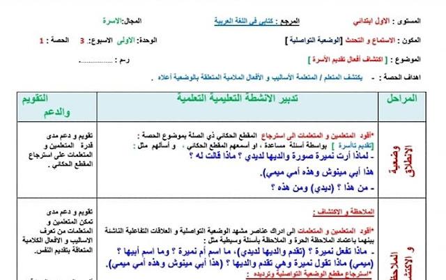 جذاذات الوضعية التواصلية للمستوى الاول الاسبوع الثالث من الوحدة الاولى مرجع كتابي في اللغة العربية