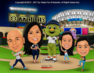 houston astros family caricature with orbit cartoon mascot
