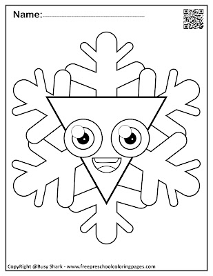 snowflakes with basic shapes preschool coloring pages ,free printables for kids, triangle