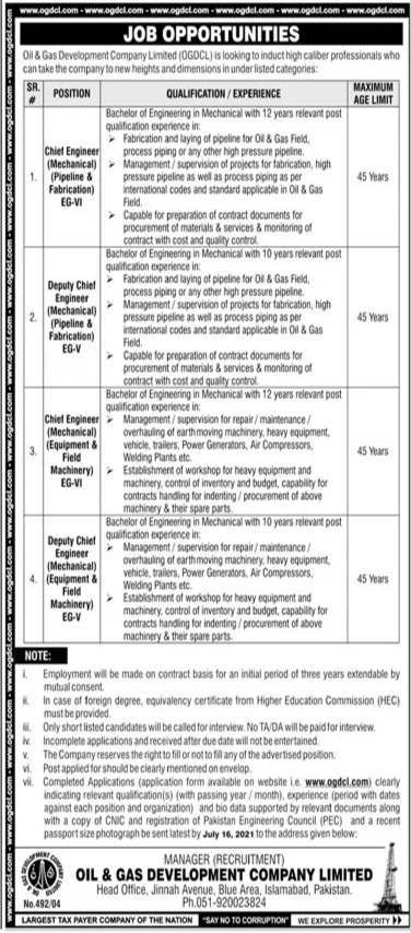 Oil and Gas Development Company Limited OGDCL Jobs 2021