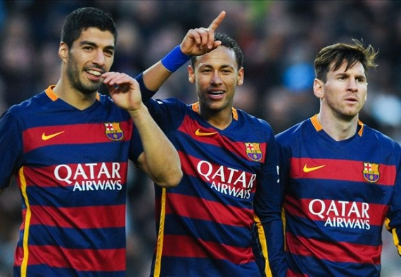 Barcelona trio - Luis Suarez, Neymar and Lionel Messi