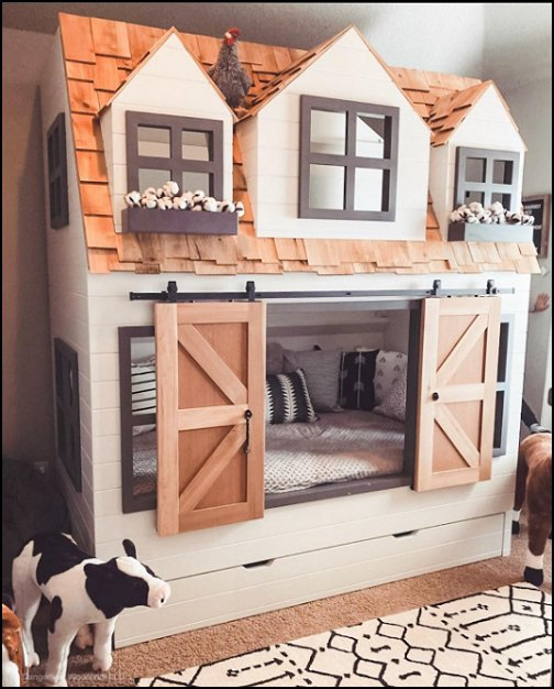 Farmhouse Country Cottage Loft Bed Playhouse FARM BEDROOM DECORATING