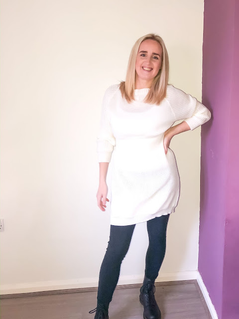 Wearing a white long sleeve jumper dress, leggings and boots / Winter dresses from Femme Luxe
