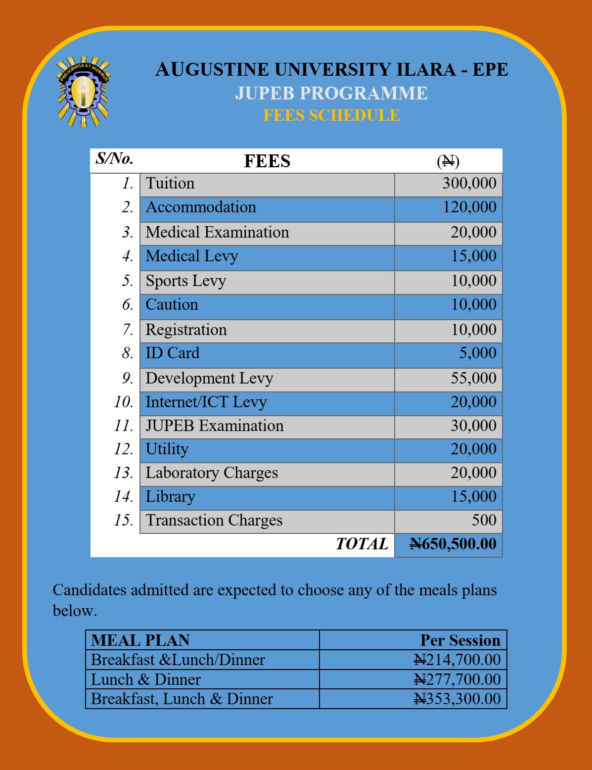 Augustine University JUPEB School Fees Schedule 2021/2022