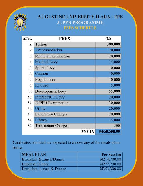 Augustine University JUPEB School Fees Schedule 2020/2021