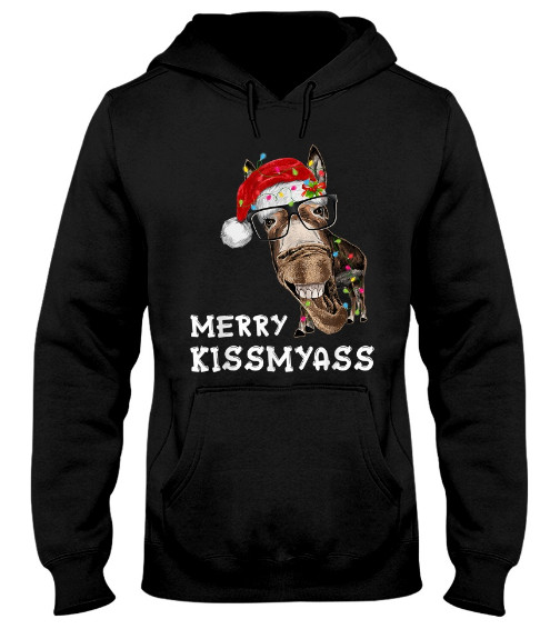 Merry Kissmyass Donkey Santa Hat Christmas T Shirt Hoodie Sweatshirt