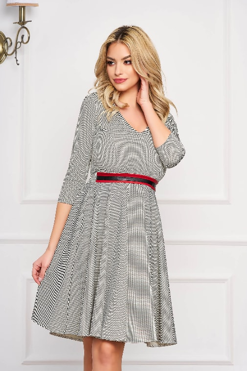 Rochie moderna StarShinerS gri office scurta in clos
