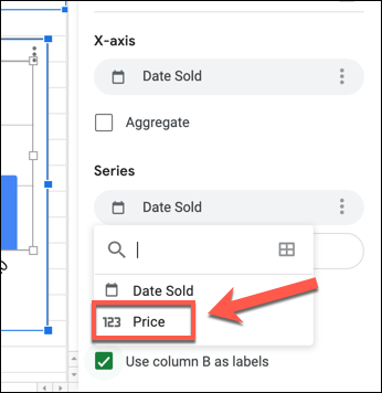 """لتغيير المحور ص في مخطط جداول بيانات Google ، حدد العمود الأول المدرج ضمن فئة """"السلسلة"""" في علامة التبويب """"الإعداد"""" في لوحة محرر الرسم البياني وحدد عمودًا بديلًا."""