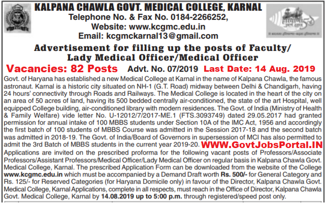 Kalpana Chawla Govt College Recruitment for 82 Professors