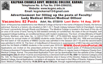 Kalpana Chawla Govt College Recruitment for 82 Professors, Lady Officer, Medical Officer Posts 2019