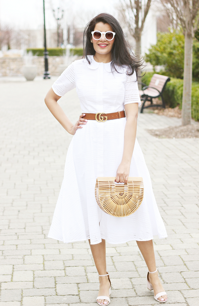 White Eyelet Dress, White Shirt Dress, White Eyelet Dresses For Summer, Eyelet Midi Dress, White Summer Dresses, Cult Gaia Ark, Gucci Marmont Belt, eShakti Cotton eyelet dress