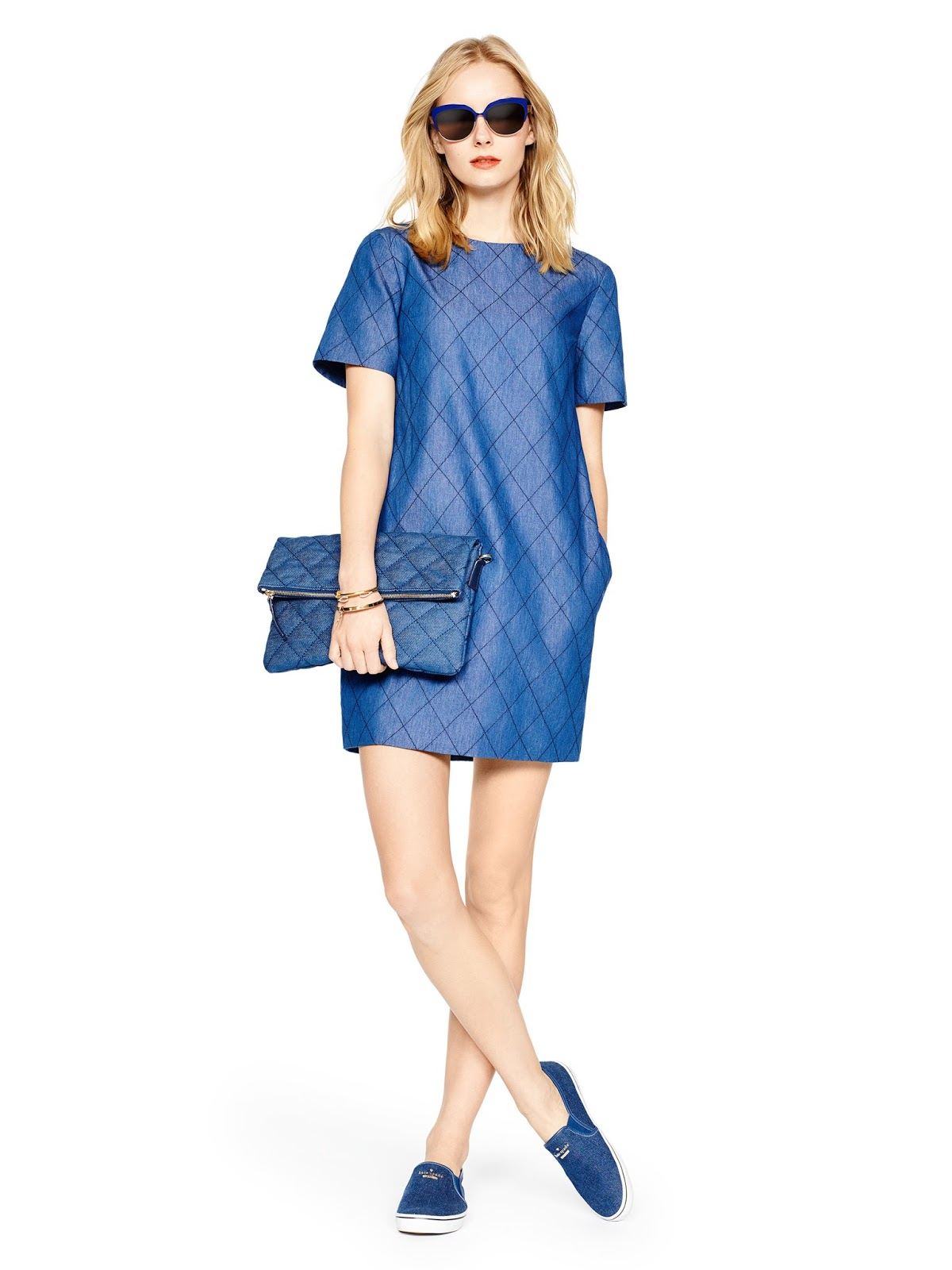 How cute is this quilted chambray dress? Shop it and other goodies during Kate Spade's new surprise sale!