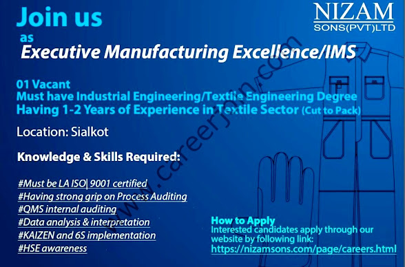 Nizam Sons Private Limited Latest Jobs For Executive Manufacturing Excellence/IMS