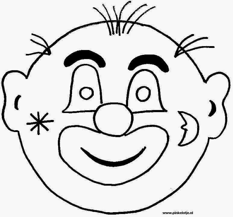 Free Printable Clown Mask Template - Worksheet  Coloring Pages