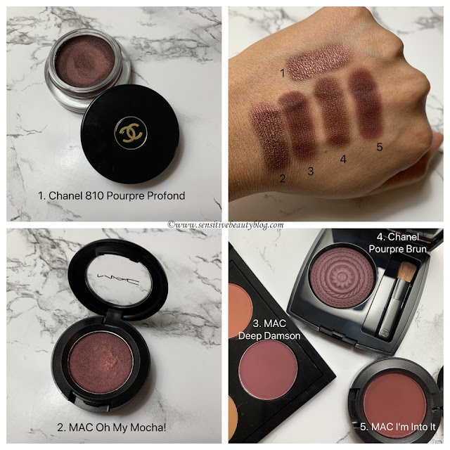 Chanel Pourpre brun compared to Chanel Poupre Profond, Mac Oh My Mocha!, Deep Damson, and I'm Into It