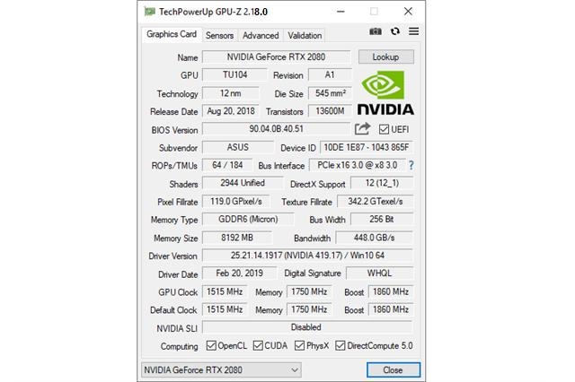 تحميل برنامج معرفة قدرات بطاقة الرسومات الخاصة بجهاز الكمبيوتر GPU-Z 2.18.0