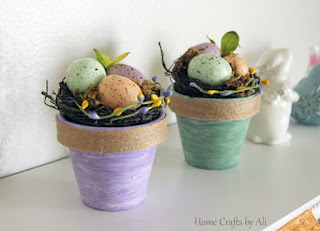 Spring Decor Tutorial - make colorful painted pots with nests